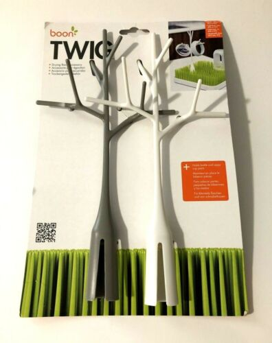 Boon Twig Bottle Drying Rack Accessory 2 Pack White and Gray BPA and PVC Free