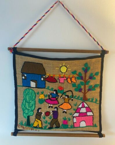 Vintage South American Folk Art Yarn Embroidery on Burlap Wall Hanging