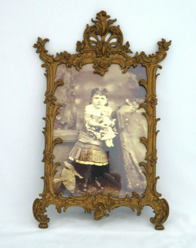 Antique Victorian Solid Brass Picture Frame w/ Easel Back Child Holding Doll Pic