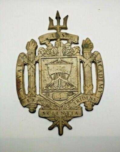 Vintage U.S. Naval Academy Metal Brass Wall Plaque with Patina