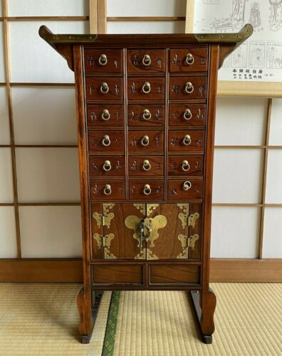 Korean Medicine cabinet wood furniture drawer Apothecary KUSURITANSU H.30.7""