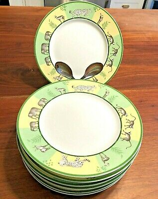 Hermes Green Africa Dessert Salad Plate Porcelain (EIGHT AVAILABLE)