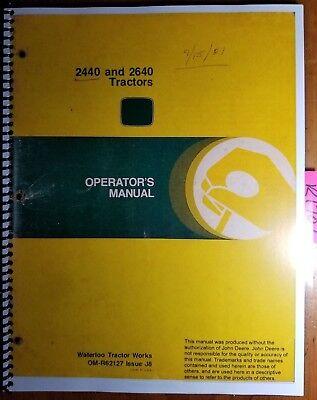 John Deere 2440 2640 Tractor Sn -340999 Owner Operator Manual Om-r62127 J8 78