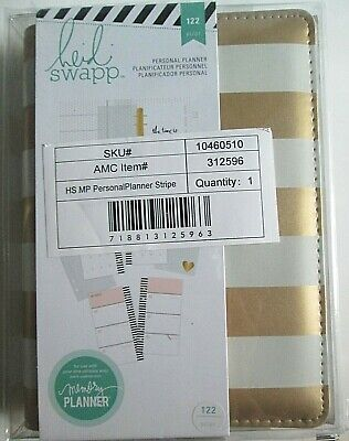 Heidi Swapp Personal Planner Stripe 122 Piece Dividers Pages New White Gold