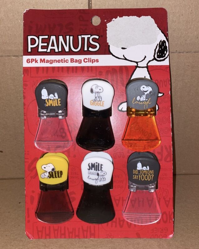 Peanuts Snoopy 6 Pack Magnetic Bag Clips New