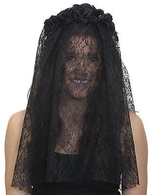 Black Day Of Dead Headband Lace Veil Black Flowers dia de los Muertos  (Black Veil Headband)