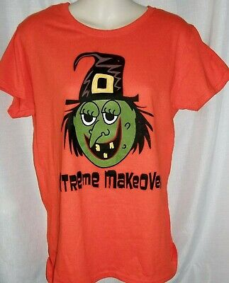 Extreme Makeover  Halloween T-Shirt Orange Misses Size Medium 100% Cotton