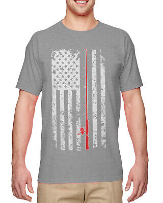 Distressed Oversized Fishing American Flag - Catch Release Mens T-Shirt ()