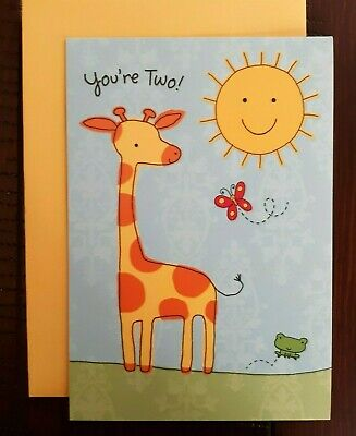2ND HAPPY BIRTHDAY CARD - Hallmark Greeting Card - You're Two! Sun & Giraffe