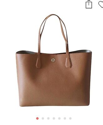 NWT Tory Burch Brody Bark Light Gold Pebbled Leather Large Tote Bag $395