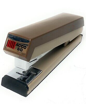 Vintage Acco Stapler 50 In Brown Tan Made In Usa