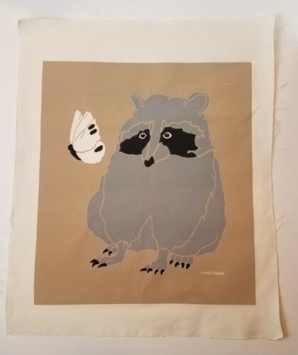 MARUSHKA Raccoon Butterfly Screen Print Mid Century Mod Pop Art Fabric Unmntd