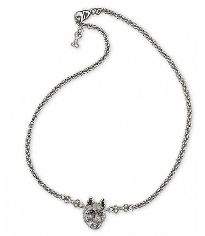 Siberian Husky Ankle Bracelet Jewelry Sterling Silver Handmade Dog Ankle Bracele