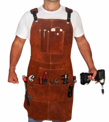 Leather Work Apron with Tool Pockets for Men, Women Welding Apron Ideal Woodwork