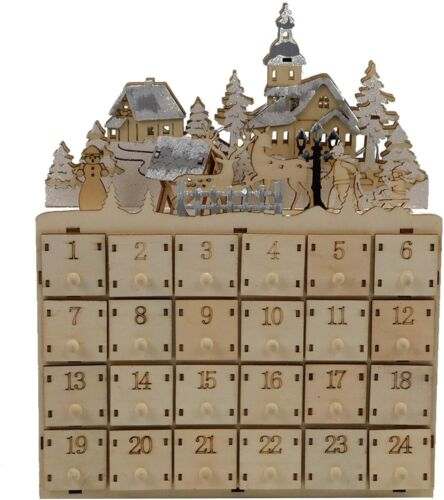 MorTime 24 Day Advent Calendar Countdown to Christmas Wooden 24 Storage Drawers
