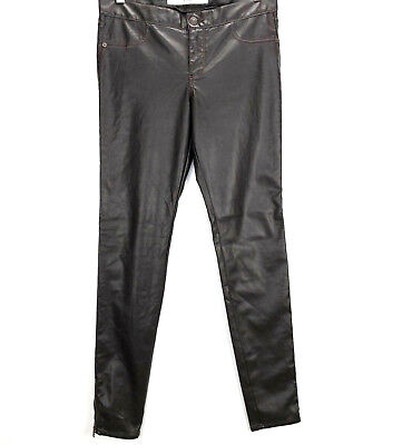 Abercrombie & Fitch Womans Size 28 Brown Faux Leather Zip Ankle Skinny Pants