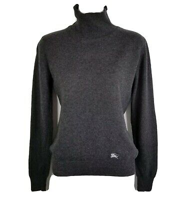 Burberry London Turtleneck Sweater S Dark Gray Elbow Patches Wool Cashmere