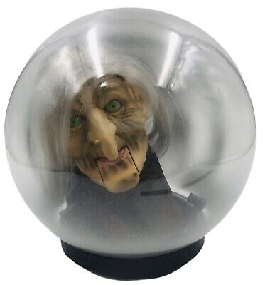 """Gemmy Animated Talking Witch Head In Crystal Ball Halloween Prop Decoration 9"""""""