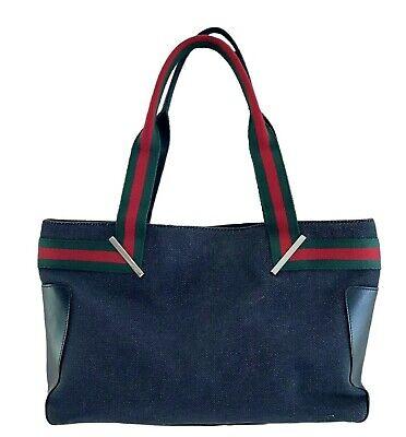 Gucci Vintage Jean Denim Web LOGO Straps Calfskin Medium Tote Shoulder Bag