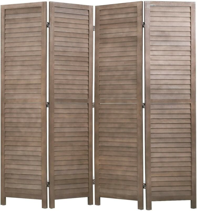 """Privacy Wood 4 Panel Room Divider, 69"""" Tall, Brown"""