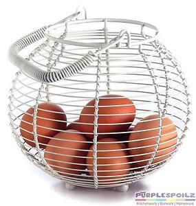 NEW RETROKITCHEN EGG BASKET Retro Kitchen Chicken Wire Storage Rack Holder WHITE