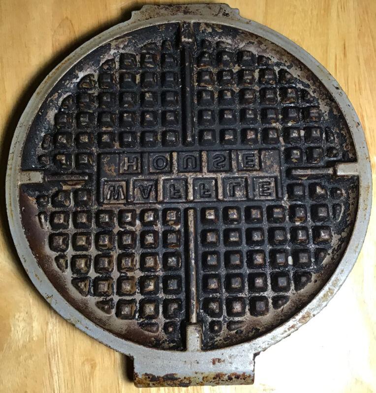 """Genuine Waffle House Restaurant 8"""" Metal Waffle Iron Plate Company Logo (4 Bolt)"""