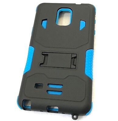 For Samsung Galaxy Note 4 - HYBRID KICKSTAND ARMOR PHONE CASE COVER BLACK BLUE