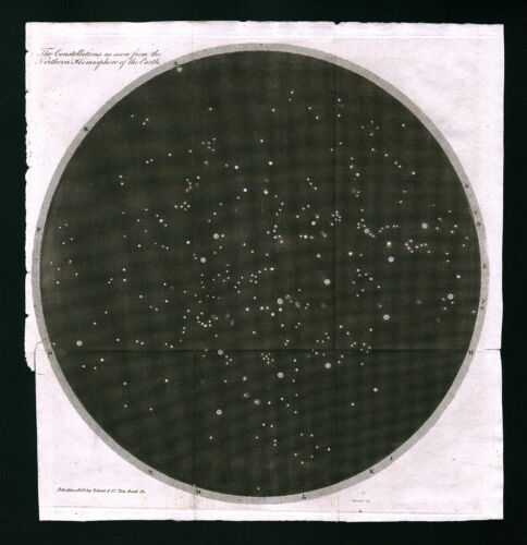 1809 Astronomy North Sky Star Map Polaris Constellations Telescope Hemisphere