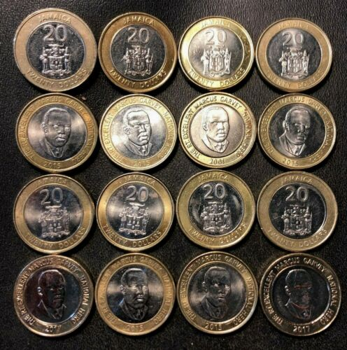 Old JAMAICA Coin Lot - 16 AU/UNC 20 Dollar Coins - FREE SHIPPING