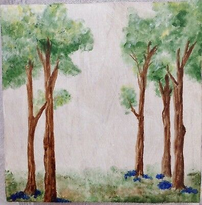 Trees Landscape Original Painting on Wood signed.
