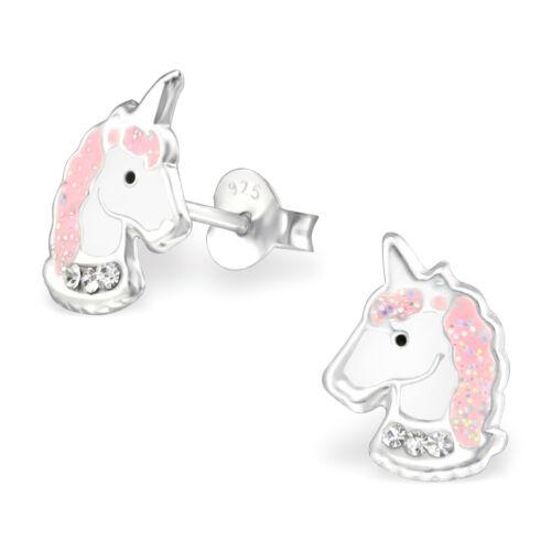 ICYROSE Sterling Silver Pink Crystal Unicorn Girls Kids Stud Earrings 3505