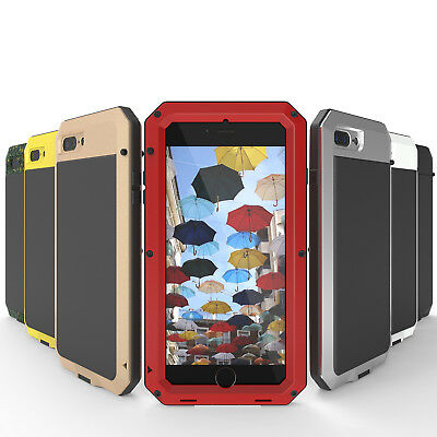 Shockproof Aluminum Glass Metal Case Cover for iPhone X 5S 6S 7 8 Plus