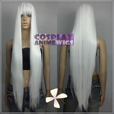 100cm White Heat Styleable long Cosplay Wigs With Bangs  - Long White Wig With Bangs