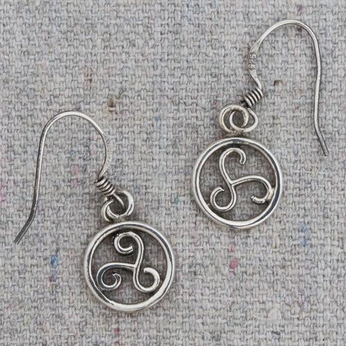 Vintage Sterling Silver Celtic Triskelion Medallion Drop Dangle Earrings