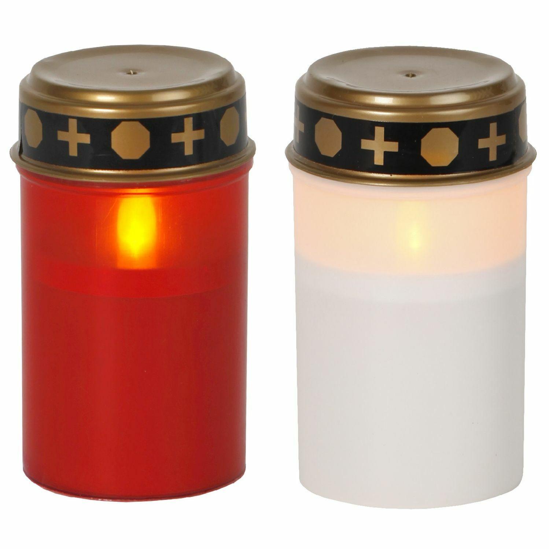 LED Batterie Grablicht Flackernd mit Timer Weiß oder Rot Outdoor