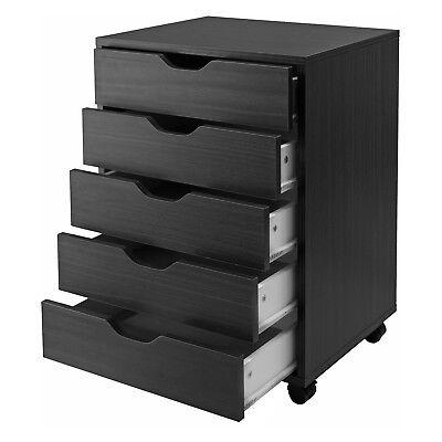 5-drawer Wood File Cabinet Dresser Rolling Closet Home Office Bedroom Organizer