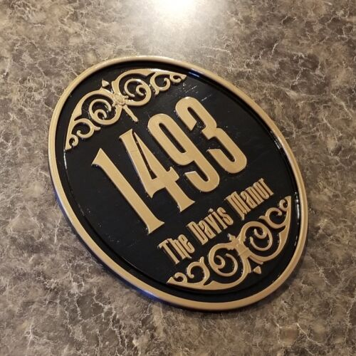 """11"""" Personalized Haunted Mansion Inspired Address Sign / Plaque w/ Family Name"""