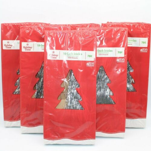 """6 Pack of 1000 18"""" Holiday Christmas Silver Icicle Strands 6000 Total Tinsel"""