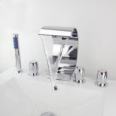 Bathroom Chrome 5pcs Basin Bath Tub Mixer Taps 3 Handles Faucet Set &Hand Shower ()