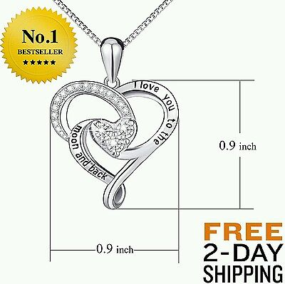 New Sterling Silver Necklace I Love You Mothers Day Gift Present Mom Wife Heart