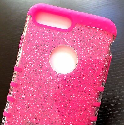 For iPhone 7+ / 8+ Plus - HYBRID HARD&SOFT CASE COVER HOT PINK CLEAR GLITTERS Hot Pink Hard Case Cover