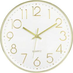 Modern Wall Clock Silent Non-Ticking Battery Operated Decorative White Gold