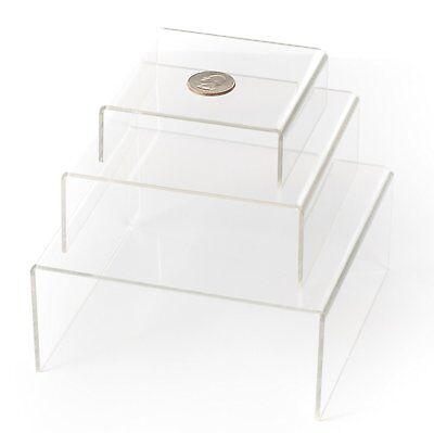 Huji Clear Medium Low Profile Set Of 3 Acrylic Risers Display Stands