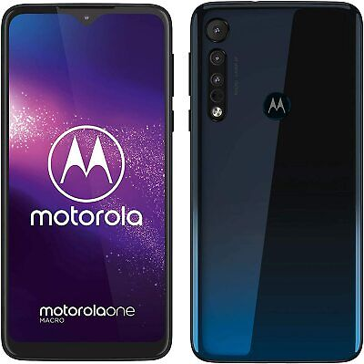 """Motorola One Macro 6.2"""" Display 64GB/4GB Android 9.0 Space Blue *FREE DELIVERY*"""
