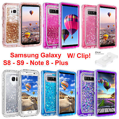 For Samsung Galaxy S8 Plus Note Liquid Glitter Case (Clip Fits Otterbox Defender