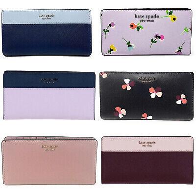 Kate Spade Cameron Large Slim Bifold Wallet Pink Blue Black Floral  Blue Leather Wallet