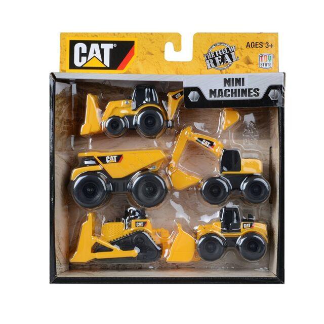 Cat Mini Machines - 5 Toy Vehicle Playset - Digger Dump Truck Bulldozer Pack Set