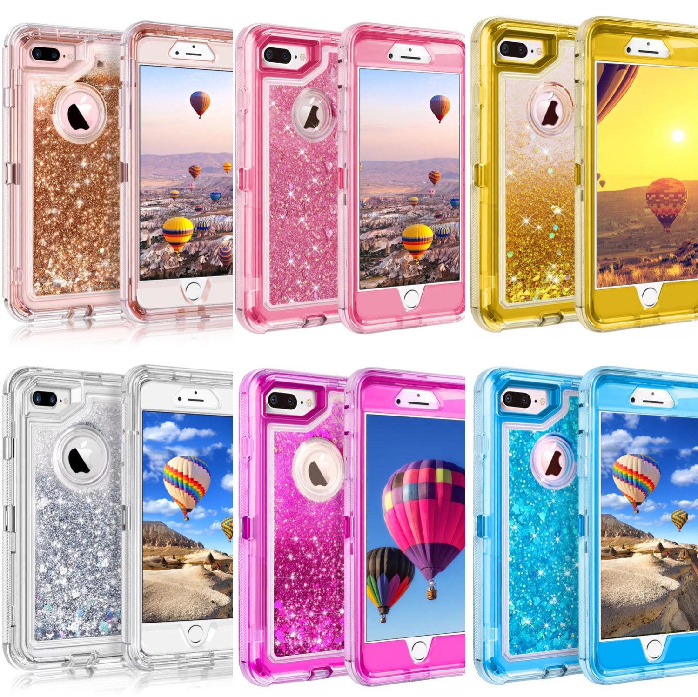 Glitter Liquid Defender Case For iPhone Flowing Sparkle Belt Clip Fits Otterbox