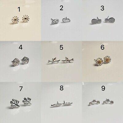 925 Sterling Silver Flower Tree Leaf Dainty Stud Earrings Gift Box Free Shipping Earring Tree Box