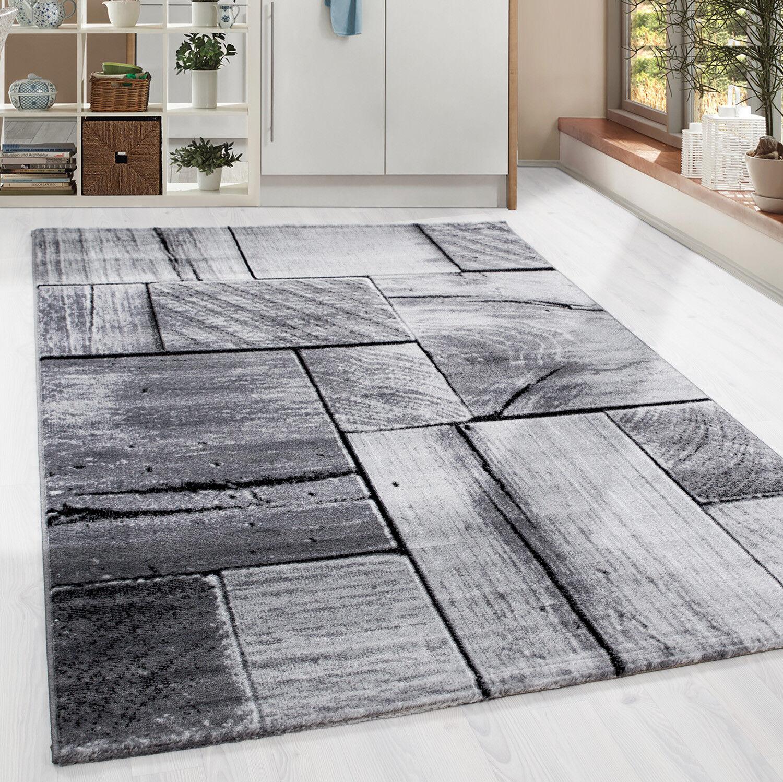 Design Kurzflor Teppich Holzbalken Look Wohnzimmer Grau Schwarz meliert